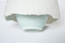 Yagi Akira, seihakuji-glazed incense burner with flaring skirt, 2012, glazed porcelain, Japanese ceramics, Japanese pottery, Japanese porcelain, Japanese celadon, Japanese incense burner, Japanese contemporary ceramics, Japanese sculpture