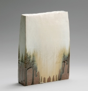 Nishihata Tadashi (b. 1948), Rectangular flattened standing vessel with slightly slanted sides, covered with thick Tamba-style dripping ash glaze