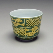 Ono Hakuko (1925-1996), Fish-patterned round sake cup