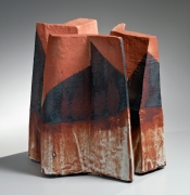 Three thick, folded slabs joined at the center to form a large standing shino-glazed vessel, ca. 1985