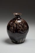 Hamada Shoji, flattened vessel, salt-glazed, shiogursui, glazed stoneware, ca. 1954, Japanese ceramics, Japanese pottery, Japanese vessel, Japanese iron glaze, Japanese modern ceramics