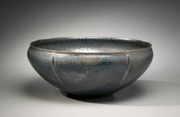 Kamada, Koji, Kamada Koji, bowl, tenmoku, silver, black, stoneware, glaze, contemporary, ceramics, Japanese, 2008