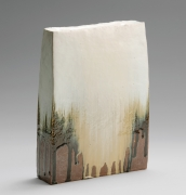 Rectangular flattened standing vessel with slightly slanted sides, covered with thick Tamba-style dripping ash glaze in creamy white, beige and black, 2018