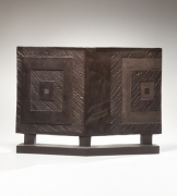 Yamada Hikaru (1923-2001), Smoke-glazed stoneware sculpture in the form of a two-fold screen