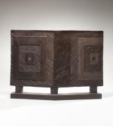 Yamada Hikaru (1923-2001), Smoke-glazed stoneware sculpture in the form of a two-fold screen