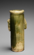 Kitaōji Rosanjin (1883-1959), Mino ware, Oribe type cylindrical vase with attenuated handles and