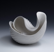 Inaba Chikako (b. 1974), Ribbed, curled leaf-shaped sculptural