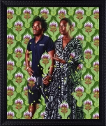 KEHINDE WILEY, Portrait of M'baye Babacar N'Diaye Sarr and Sarah Diouf, 2020, oil on linen, painting: 72 x 60 inches (182.9 x 152.4 cm), framed: 83 7/16 x 71 11/16 inches (211.9 x 182.1 cm), KW-PA-20-005