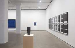 Installation view of Idris Khan: Blue Rhythms at Sean Kelly, New York