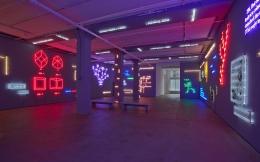 Installation view of 'Agnosia, an Illuminated Ontology' an installation by Joseph Kosuth at Sean Kelly, New York