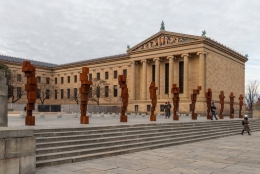 Antony Gormley: STAND, 2019 , Installation view, Philadelphia Museum of Art, PA, USA