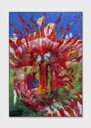 Red Lotus, 2018, glass mosaic with patinated brass frame