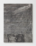 Untitled, 2012, ink and bleach on canvas mounted to wood panel