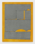 Square in a Square, 2019, bluestone, painted canvas mounted to MDF panel