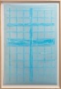 Giulia Piscitelli Venice Window #9, 2012 Nitro thinner on light blue polyester graph paper 57 x 39 ¼ inches
