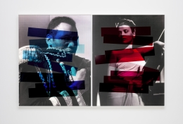 """Hank Willis Thomas """"Interaction of Color"""" (Josef Albers diptych) (variation with flash), 2019"""