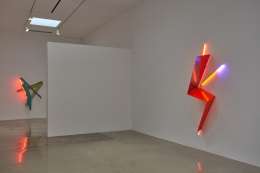 """Installation view of """"Peter Shire: Drawings, Impossible Teapots, Furniture & Sculpture"""" at Kayne Griffin Corcoran, Los Angeles"""