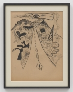 John Tweddle Love Highway (with kite), N.D.  Pen and ink on brown paper 28 ½ x 22 ½