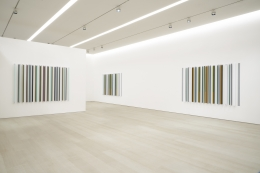 Installation view from the exhibition, Robert Irwin: Unlights, Pace Gallery, 540 West 25th Street, New York, January 17–February 22, 2020. From left: Kilts, 2018; Buzy Body, 2018; Thou Swell, 2018.