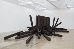 Untitled Noboru Takayama railroad tie installation at Kayne Griffin Corcoran, Los Angeles