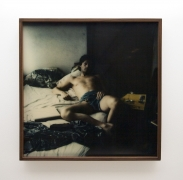 Michel Auder, Self portrait open legged on bed
