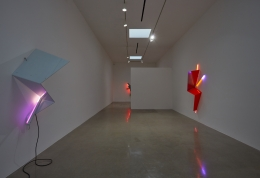"Installation view of ""Mark Handforth: Zig, Zag & Flag"" at Kayne Griffin Corcoran, Los Angeles"