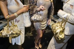 Jackie and friends with Versace handbags at a private opening at the Versace store, Beverly Hills, 2007, 20 x 30 inch - Archival Pigment Print - Ed. of 5