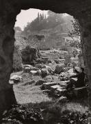 Artist on the Forum Romanium, Rome, 1949, 11-11/16 x 8-11/16 Vintage Silver Gelatin Photograph