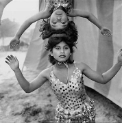 Acrobats Rehearsing, Great Golden Circus, India, 1989, 16 x 20 Silver Gelatin Photograph, Ed. 25