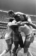 Pele Celebrating Goal, FIFA World Cup Final, Estadio Azteca, Mexico City, 1970, Silver Gelatin Photograph