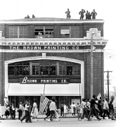 """Rooftop troops guarding marchers passing in front of """"The Brown Printing Company"""", Selma to Montgomery, Alabama Civil Rights March, March 24-26, 1965"""