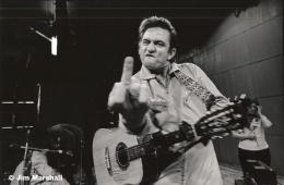 Johnny Cash (Flipping the Bird), San Quentin Prison, 1969, 11 x 14 Silver Gelatin Photograph