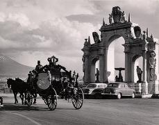Luxurious Hearse at Lungomare, Naples, 1958, 8-7/8 x 11-3/8 Vintage Silver Gelatin Photograph