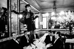 Kate Moss at Cafe Lipp (Horizontal), Paris, Italian Vogue, 1993