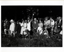 (Row of Spectators: Woman Point to the Sky), n.d., 11 x 14 Silver Gelatin Photograph