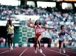 Florence Griffith-Joyner (Flo-Jo), Team USA, Olympic Stadium, Seoul, South Korea, 1988, Color Photograph