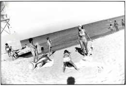 """(Beach Scene, Inflatable Dolphin and Garry's Shadow), """"Women are Beautiful,"""" n.d., 11 x 14 Silver Gelatin Photograph"""