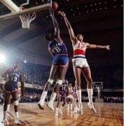 Wilt Chamberlain & Walt Bellamy, Philadelphia 76ers vs NY Knicks, Convention Hall, Philadelphia, 1966, Color Photograph