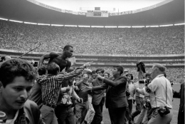 Pele on Shoulders of Fans, Mexico City, Mexico, 1970, 16 x 20 Silver Gelatin Photograph, Ed 150