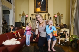 Jackie with some of her children in her living room, Windermere, 2009