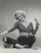 """Marilyn Monroe (""""How to Marry a Millionaire"""" - Playing with money on floor), 1953, 14 x 11 Silver Gelatin Photograph"""