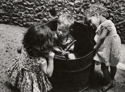 Conference Over a Vat, Naples, 1961, 7-1/8 x 9-13/16 Vintage Silver Gelatin Photograph