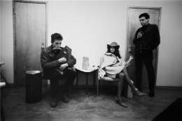 Bob Dylan, Mimi and Dick Farina, Dressing Room, Location Unknown, 1964, 11 x 14 Silver Gelatin Photograph