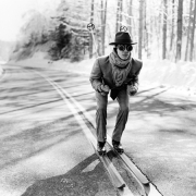 Reed Skiing in the Street, Lake Placid, New York, 2008, Archive Number: HFR-0308-015-12, 16 x 20 Silver Gelatin Photograph