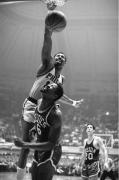 Wilt Chamberlain Dunks Over Bill Russell, Philadelphia 76ers vs. Boston Celtics, NBA Eastern Division Finals, Convention Hall, Philadelphia, 1967, 20 x 16 inches, Ed. of 150