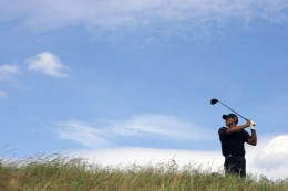 Tiger Woods, Round 4 of the British Open at the Old Course, St. Andrews, Scotland, 2005, Color Photograph