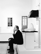 Marcel Duchamp in 'Pasadena Art Museum' with his Fountain readymade, Time Magazine, 1963, Silver Gelatin Photograph