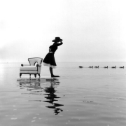 Zoe on Water with Ducks, Sherwood Island, Westport, Connecticut, 2004, Archive Number: BAB-0704-008-11, 16 x 20 Silver Gelatin Photograph