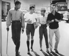 Sidney Poitier, Tony Curtis, Sammy Davis, Jr., and Jack Lemmon on Lot