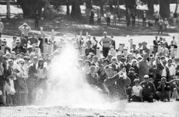 Arnold Palmer Hitting Out of Bunker, US Open, Lake Course of The Olympic Club, San Francisco, 1966, Silver Gelatin Photograph